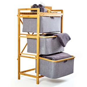 Laundry shelf 3 drawers 3 floors bamboo cotton