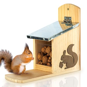 Mangiatoia per scoiattoli tetto di metallo legno di pino non trattato