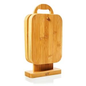 6er-Set Bambus-Frühstücksbrett rechteckig Schneidebrett Küchenbrett | Bambus |  Ständer zum Aufhängen | je 22 x 0,9 x 16 cm (BxHxT) | Naturoptik |  pflegeleicht