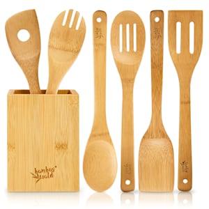 Zestaw łyżek kuchennych, z pojemnikiem do przechowywania, 6 sztuk, ekologiczne, lekkie, bambus