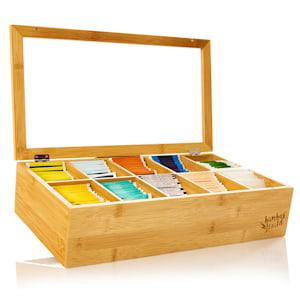 Caja para té 10 compartimentos 150 bolsitas de té Ventanilla de plástico Bambú