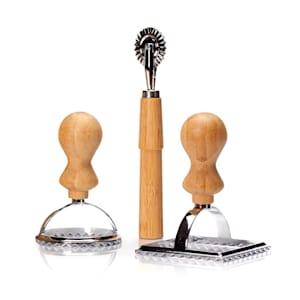 Formičky na ravioly, sada 3 kusů, 2 velikosti, kulatá a hranatá, kolečko na těsto, kov, bambus