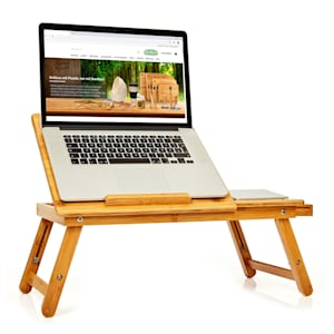 Bed tray foldable laptop table height adjustable 54 x 21-29 x 35 cm(WxHxD) bamboo