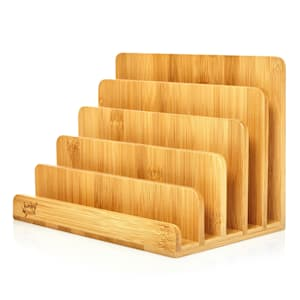 Letter tray with 5 compartments DIN A4 25x17.5x16cm standing or  lying bamboo