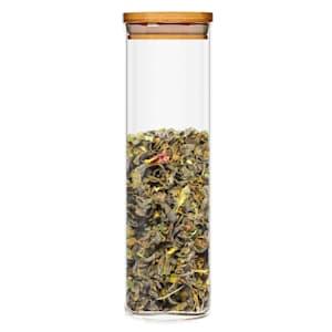 Hranatá nádoba s bambusovým víkem na skladování potravin, vzduchotěsná, se silikonovým těsněním, 10 × 20,5 × 10 cm
