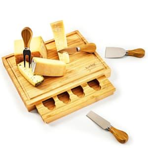 Deska do krojenia serów z szufladą na noże, 25,2 x 3 x 19,5 cm (szer. x wys. x gł.), 4 specjalne noże, łatwa do utrzymania w czystości