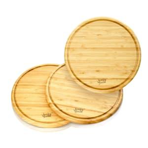 3er-Set Bambusbrett rund Schneidebrett Küchenbrett | Bambus | 25 x  1,6 x cm ØxH) | Krümelrille | Naturoptik |  pflegeleicht