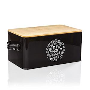 Gistad, pojemnik na chleb, blacha metalowa, pokrywa bambusowa, 44 x 16 x 21 cm (szer. x wys. x gł.), prostokątny