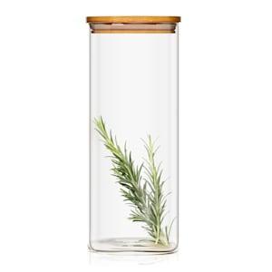 Eckiges Glas mit Bambusdeckel Vorratsglas Aufbewahrungsglas |  luftdicht | mit Silikonring | umweltfreundlich | lebensmittelecht | Inhalt: 1500  ml | Maße: 10 x 20,5 x 10 cm (BxHxT)