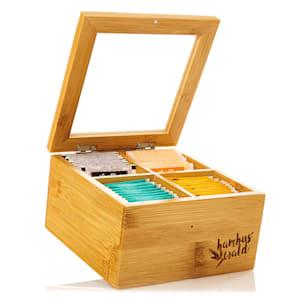 Caja para té 4 compartimentos 60 bolsitas de té Ventanilla de plástico Bambú