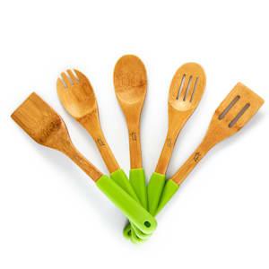 Kuchyňské příslušenství, 5 ks, silikonové rukojeti, bambus