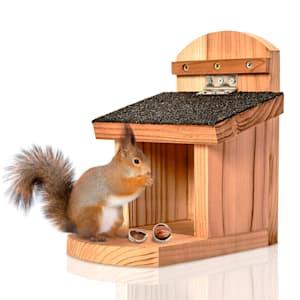 Voederhuis voor eekhoorns plat dak cederhout bitumen onbehandeld