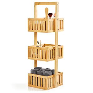 Premium shower shelf 27 x 82 x 24 cm lattice look water-resistant bamboo
