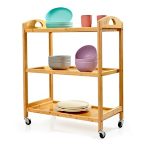 Serving trolley 3 shelves 4 rollers 60x74.5x33.5cm (WxHxD) bamboo