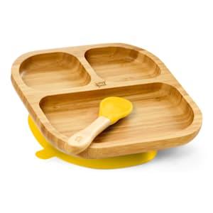 Vajilla infantil con plato de bambú y cuchara 250 ml incl. ventosa 18 x 18 cm