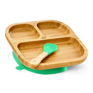 Vaisselle pour enfants comprenant assiette en bambou, cuillère 250 ml et ventouse 18 x 18 cm