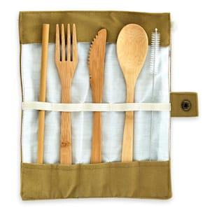 Couverts de voyage dans un sac brun  5 pièces en bambou enroulable