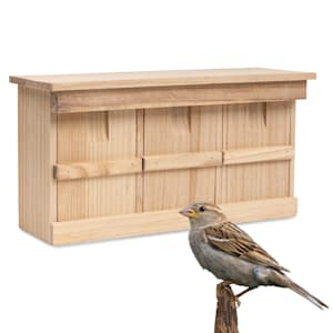 Bird house for sparrows, untreated natural wood, ready-to-use hanging loops