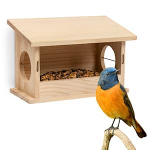 Mangiatoia per uccellini legno naturale non trattato cordicino di sospensione già assemblata