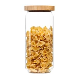 Bocal empilable avec couvercle en bambou verre de stockage | hermétique | empilable | avec joint en silicone | respectueux de l'environnement | sûr pour les aliments |  sans plastique | recyclable | durable |  1000ml | dimensions : 9,5 x 21 cm (ØxH)
