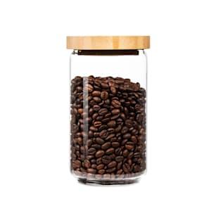 Stapelglas mit Bambusdeckel Vorratsglas | luftdicht |  stapelbares Design | mit Silikonring | umweltfreundlich | lebensmittelecht |  plastikfrei | recycelbar | nachhaltig |  Inhalt: 750 ml | Maße: 9,5 x 16,5 cm (ØxH)