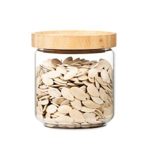 Stapelglas mit Bambusdeckel Vorratsglas | luftdicht |  stapelbares Design | mit Silikonring | umweltfreundlich | lebensmittelecht |  plastikfrei | recycelbar | nachhaltig |  Inhalt: 500 ml | Maße: 9,5 x 10,5 cm (ØxH)