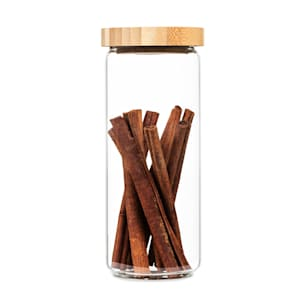 Stapelglas mit Bambusdeckel Vorratsglas | luftdicht |  stapelbares Design | mit Silikonring | umweltfreundlich | lebensmittelecht |  plastikfrei | recycelbar | nachhaltig |  Inhalt: 800 ml | Maße: 8,5 x 20,5 cm (ØxH)