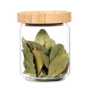 Stapelglas mit Bambusdeckel Vorratsglas | luftdicht |  stapelbares Design | mit Silikonring | umweltfreundlich | lebensmittelecht |  plastikfrei | recycelbar | nachhaltig |  Inhalt: 320 ml | Maße: 8,5 x 10,5 cm (ØxH)