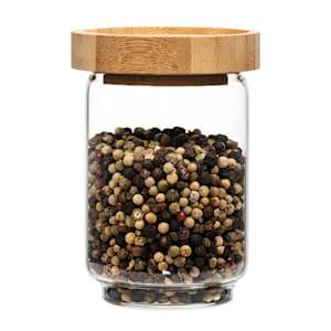 Stapelglas mit Bambusdeckel Vorratsglas | luftdicht |  stapelbares Design | mit Silikonring | umweltfreundlich | lebensmittelecht |  plastikfrei | recycelbar | nachhaltig |  Inhalt: 250 ml | Maße: 7,5 x 11 cm (ØxH)