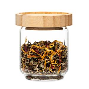 Stapelglas mit Bambusdeckel Vorratsglas | luftdicht |  stapelbares Design | mit Silikonring | umweltfreundlich | lebensmittelecht |  plastikfrei | recycelbar | nachhaltig |  Inhalt: 200 ml | Maße: 7,5 x 8,5 cm (ØxH)