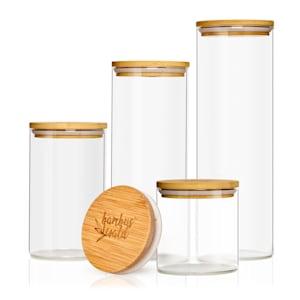Okrągły słój, z pokrywką bambusową, zestaw 4 sztuk, pojemność: 600 ml, 1000 ml, 1500 ml, 1800 ml