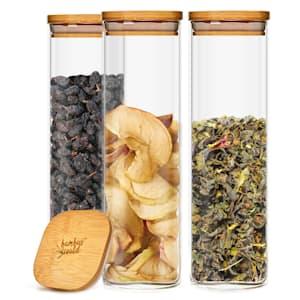 Квадратен буркан за съхранение на храна с бамбуков капак, херметичен, със силиконово уплътнение, 10 × 25 × 10 см, 3 × 2000 мл