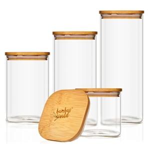 Bocal carré avec couvercle en bambou Lot de 4 Contenances : 700 ml, 1200 ml, 1500 ml, 2000 ml