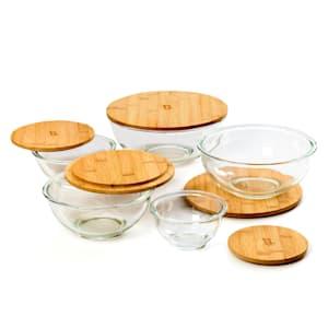 Juego de 5 cuencos de cristal Tapa de bambú Apilables Sin BPA