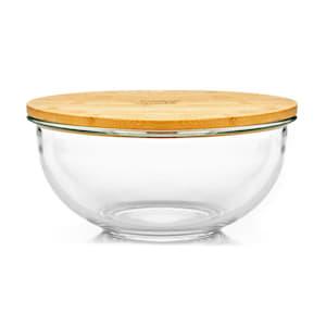 Skleněná mísa, 1365 ml, bambusový víko, uzavíratelná, bez BPA, velikost M