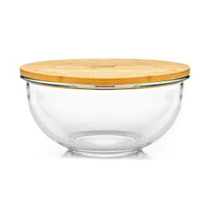 Salatschüssel Glasschüssel Popcornschüssel Obstschale Dessertschüssel Vorratsschüssel | Inhalt:  865 ml | spülmaschinenfest | kälte- & hitzebeständig |  hochwertiges Glas | Deckel aus Bambus | verschließbar | BPA-frei / Melamin-frei | Größe  S