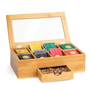 Teebox mit extra Fach Teekasten Teebeutelspender Aufbewahrungsbox |  8 Fächer | Holzoptik | Kunststoff-Sichtfenster | für 120 Teebeutel | aus Bambus