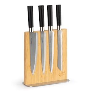 bloc de couteaux magnétique | matériau : bambou et acier inoxydable | magnétique des deux côtés | pour 8 à 12 couteaux | support antidérapant | naturel | forme : droite
