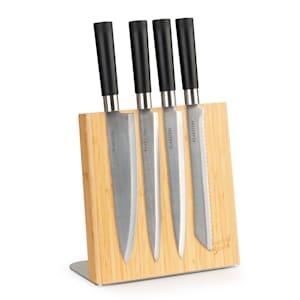 Bloc de couteaux magnétique | matériau : bambou et acier inoxydable | magnétique | pour 4 à 6 couteaux | support antidérapant | naturel | forme : inclinée