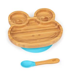Vajilla infantil rana | plato y cuchara de bambú | cubiertos de aprendizaje con plato de separación | incl. ventosa | bambú:  estilo de plato y cuchara | silicona: ventosa y cuchara | cantidad de llenado: aprox. 250 ml | forma de animal