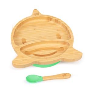 Vajilla infantil delfín | plato y cuchara de bambú | cubiertos de aprendizaje con plato de separación | incl. ventosa | bambú:  estilo plato y cuchara | silicona: ventosa y cuchara | cantidad de llenado: aprox. 250 ml | forma de animal