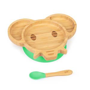 Vajilla infantil elefante | plato y cuchara de bambú | cubiertos de aprendizaje con plato de separación | incl. ventosa | bambú:  estilo plato y cuchara | silicona: ventosa y cuchara | cantidad de llenado: aprox. 250 ml | forma de animal