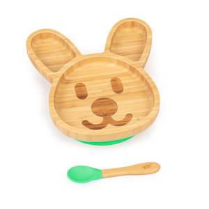 Vajilla infantil conejo | plato y cuchara de bambú | cubiertos de aprendizaje con plato de separación | incl. ventosa | bambú:  estilo de plato y cuchara | silicona: ventosa y cuchara | cantidad de llenado: aprox. 250 ml | forma de animal