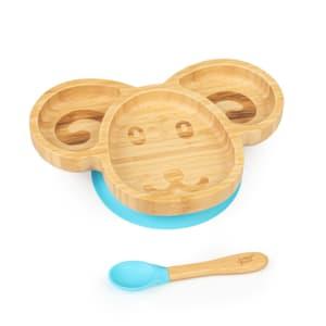 Vajilla infantil oveja | plato y cuchara de bambú | cubiertos de aprendizaje con plato de separación | incl. ventosa | bambú:  estilo de plato y cuchara | silicona: ventosa y cuchara | cantidad de llenado: aprox. 250 ml | forma de animal