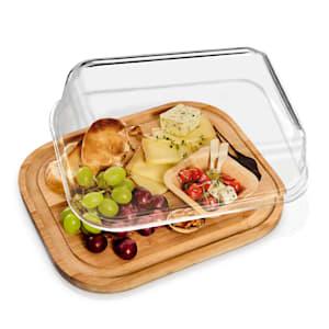 Skleněný servírovací talíř, vzduchotěsný, neovlivňuje chuť, vhodný do myčky, vhodný do mrazáku
