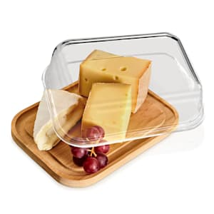 Skleněná dóza na sýr, bambusové dno, vzduchotěsná, neovlivňuje chuť, vhodná do myčky
