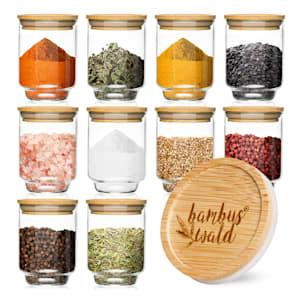 Tarros redondos, tarros de especias, tarros de almacenamiento | tapa de bambú | 10 piezas   | 150 ml cada uno | hermético | apilable | insípido | a prueba de aroma | apto para lavavajillas