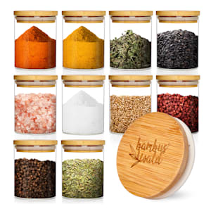 Tarros redondos, tarros de especias, tarros de almacenamiento | tapa de bambú | 10 piezas   | 150 ml cada uno | hermético | insípido | a prueba de aroma | apto para lavavajillas