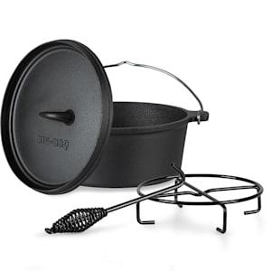 Galloway - Dutch oven 4.5, pentola in ghisa | Pretrattata | Con leva per sollevare il coperchio e apposito supporto | Misura S: 4.5 qt/3,7 litri