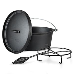 Galloway Dutch Oven 6.0 Gusseisen-Topf | voreingebrannt | mit  Deckelheber und Deckelständer | Größe M: 6 qt / 5,7 Liter